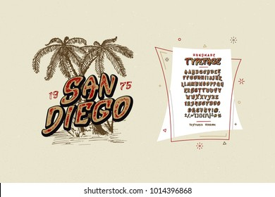 Font San Diego. Handmade modern textured vintage display typeface.  Fashion design brush alphabet. Vector letters. Set of Latin characters, numbers, punctuation. For typography, print logo, t-shirts