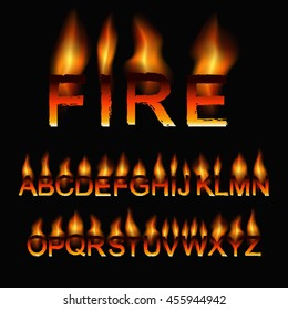 Font set in the fiery style. Vector illustration.