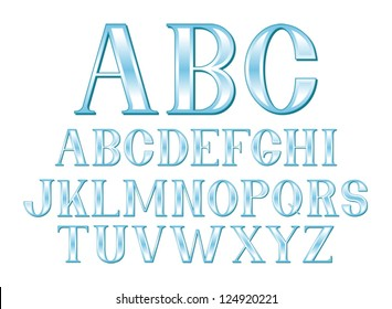 A font set of glassy blue letters in uppercase. Eps 10 Vector.
