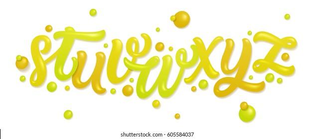 Font set with letters a, b, c, d, e, f, g, h, i. Alphabet made of fresh citrus juices (orange, grapefruit, lemon, fresh lime) isolated on white. Vector illustration made of water.