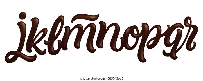 Font set with letters j, k, l, m, n, o, p, q, r. Latin alphabet made of dark melted chocolate. Liquid font style. Vector illustration.