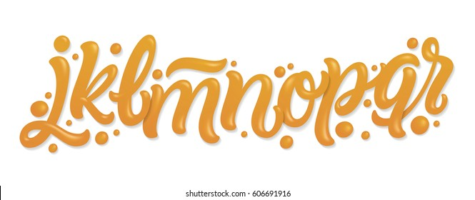 Font set with letters j, k, l, m, n, o, p, q, r. Alphabet set made of caramel, liquid and glossy.