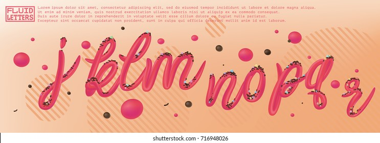 Font set with letters j, k, l, m, n, o, p, q, r. Glossy pink paint letters. 3D render of bubble font with glint. Typography vector illustration.