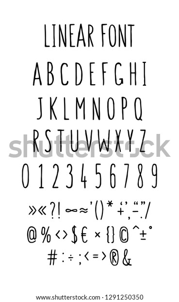 Font Set Letters Symbols Vector Linear Stock Vector (Royalty