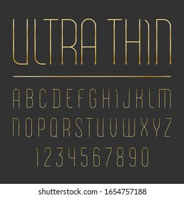 Font from single ultra thin line, trendy simple alphabet sans serif, modern condensed golden letters and numbers
