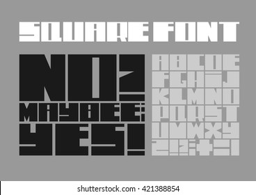 Font of the square of thick heavy letters on a gray background
