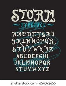 Font Storm. Hand crafted stylized retro vintage typeface design. Original handmade lettering type alphabet on navy background. Authentic handwritten font, vector set letters. Art script logo, label.