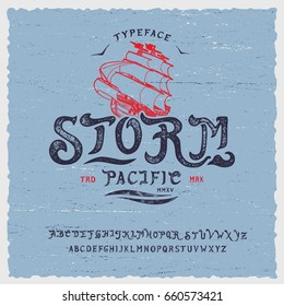 Font Storm. Hand crafted stylized retro vintage typeface design. Original handmade lettering type alphabet on navy background. Authentic handwritten font, vector set letters. Art script logo, label.