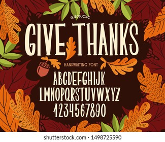 Font thanksgiving day. Typography alphabet with colorful autumn illustrations. Type design for holiday party celebration. Design vector banner with hand-drawn lettering.