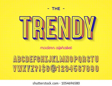 Font trendy colorful 3d typography sans serif style for t shirt, promotion, party poster, sale banner, offer. Vector Illustration