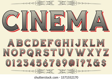 Font Typeface handcrafted handwritten vector label design old style.Shadow Effect.vintage Hand Drawn.Retro Typography.Vector cinema [Converted]