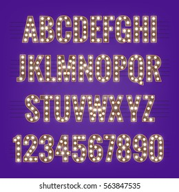 Font. Typeface with light bulbs. Shiny letters and numbers with glowing lights.