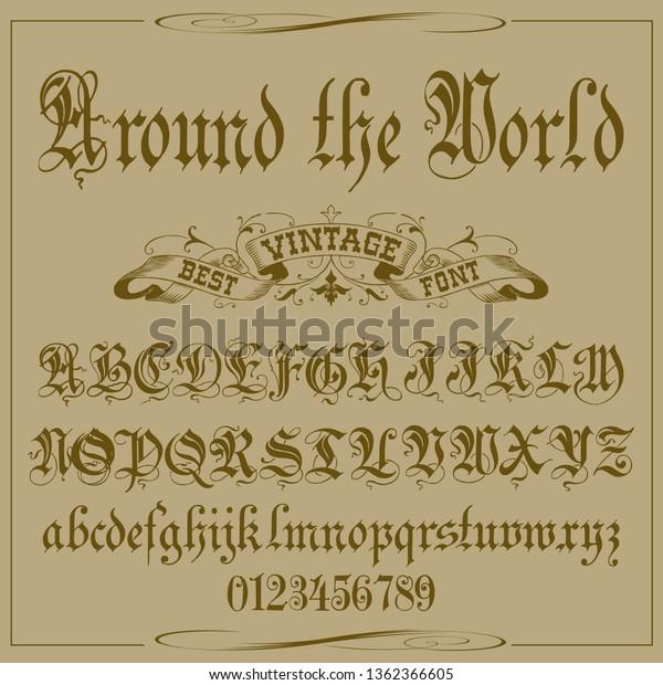Font Typeface Script Vintage Script Font Stock Vector (Royalty Free