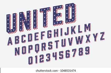 Font USA Flag Stars and Stripes Vector Illustration for Memorial Day or Independence Day or others