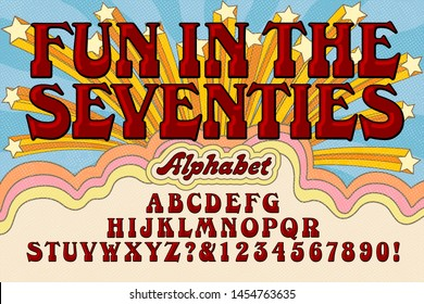 Font vector alphabet design; An early 1970s style cartoon like alphabet with a groovy retro hippie vibe.