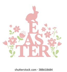 Font Vector illustration with the hare for Easter. It can be used as a poster, postcard and invitation to the Easter holiday.