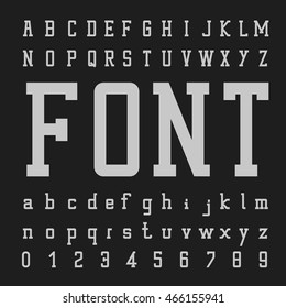 Font Vector,Type letters and numbers