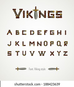 Font. Viking style. Medieval weapons. Game icons. Viking emblem. Cartoon arms alphabet. Vector letters.