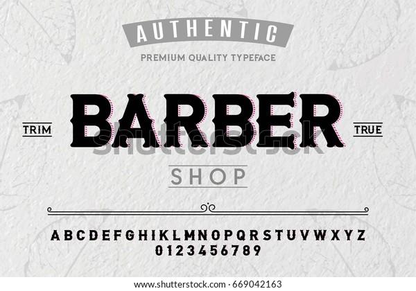 Fontalphabetscripttypefacelabelbarber Shop Typeface Labels