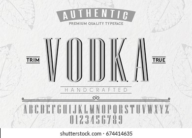 Font.Alphabet.Script.Typeface.Label.Vodka typeface.For labels and different type designs