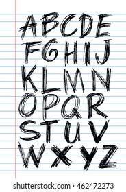 Font,brush stroke alphabet,grunge style.