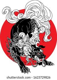 FOO DOG ILLUSTRATION FROM CHINESSE MYTHOLOGY FOR T-SHIRT