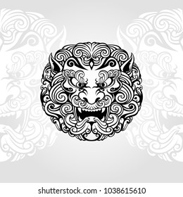Foo dog vector in white background