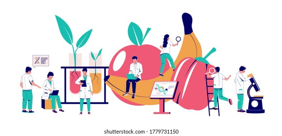 Food additives research, vector flat illustration. Scientists working in biotechnology lab. Food additives study. Genetic engineering. Genetically modified foods, gene technology.