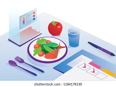 Food agenda and diet app controlling isometric nutrition facts and calories of a meal, healthy eating and technology concept