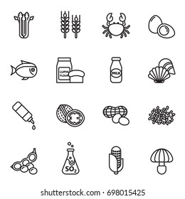 Food Allergen Icons set. Line Style stock vector.