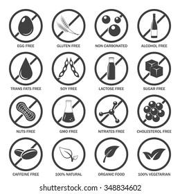 Food allergen icons set. Vector EPS8 illustration.