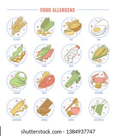 Food allergen set, collection of gluten, nut, fish, milk, lactose, egg, and other allergy products icons for health and nutrition, isolated hand drawn cartoon vector illustration on white background