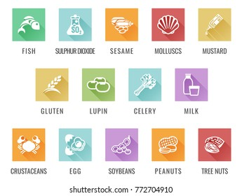 Food allergy icons including the 14 allergies outlined by the EU Food Information for Consumers Regulation, EFSA European Food Safety Authority Annex II which encompass the big 8 FDA Major Allergens