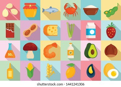 Food allergy icons set. Flat set of food allergy vector icons for web design
