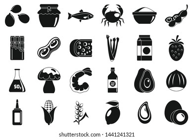 Food allergy intolerance icons set. Simple set of food allergy intolerance vector icons for web design on white background