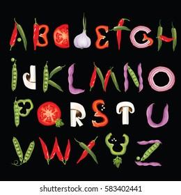 Food alphabet made of vegetables. Eco Font. Healthy letter. Vector illustration