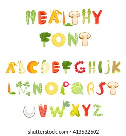 Food alphabet made of vegetables and fruits. Font. Healthy letter. Vector letter.