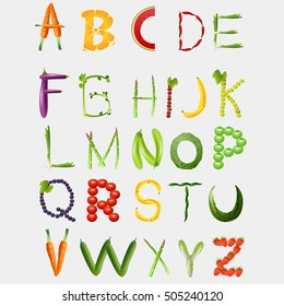 Food alphabet made of vegetables and fruits. Healthy food vegetables letter