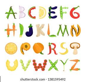 Food alphabet tasty set, font typography collection. Vector flat style cartoon alphabet illustration isolated on white background