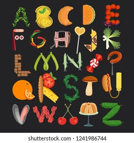 Food Alphabet. Typography Kitchen Poster. Vector Illustration.