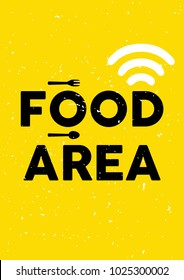 Food area sign template. Creative unique poster. Cute yellow ready for print A4, A3, and A1.