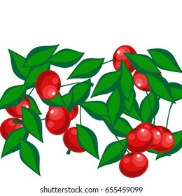 Food background. Cherries in a Decorative Style