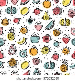 Food background. Doodle Fruits and Berries Seamless pattern. Vector illustration