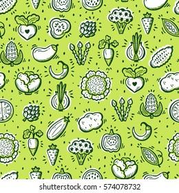 Food background. Doodle Vegetables Seamless pattern. Vector illustration