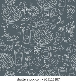 Food background. Linear graphic.