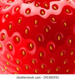 Food background with realistic strawberry close-up texture