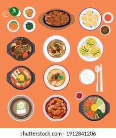 Food background, Top down view variety of Korean food