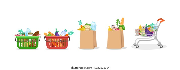 Food bag. Basket and paper bag with a grocery set from supermarket market bread milk vegetables fruits meat full trolley with healthy fresh food, online shopping illustration. Vector clipart graphic.