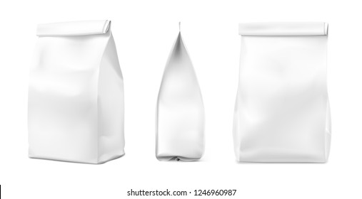Food bag mockup isolated on white background. Vector illustration. Can be used for templates of your design, promo, adv. EPS 10.