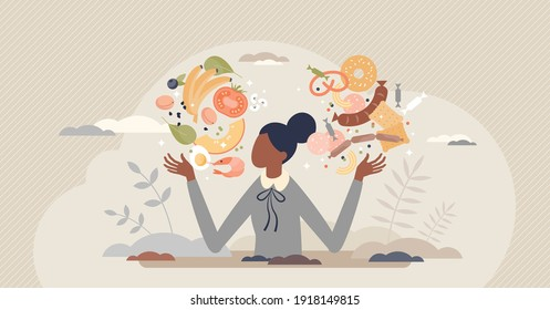 Food balance as healthy eating diet proportion to junk tiny person concept. Choose vegetables and fruits with vitamins for weight loss and wellness vector illustration. Compare ingredients proportion.